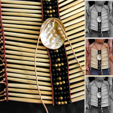 Bone Breastplate with Brass & Glass Beads